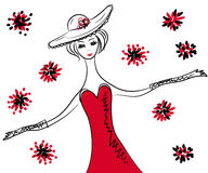 Sketch of retro woman in red dress and hat Royalty Free Stock Photos