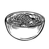 Sketch rice in bowl / cartoon hand drawn illustration, black and white, ink, sketch style royalty free illustration