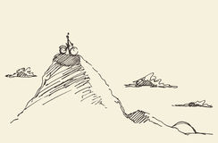 Sketch rider bicycle standing top hill vector Stock Photos