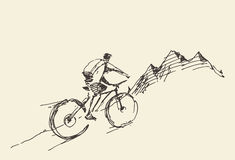 Sketch rider bicycle standing top hill vector Stock Image