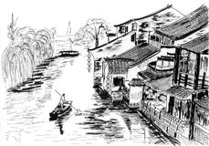 Sketch The river village wuzhen Stock Image