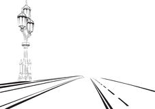 Sketch of the road with a lantern Royalty Free Stock Image