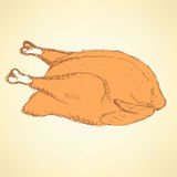 Sketch roasted turkey in vintage style Stock Photo