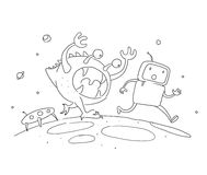 Sketch robot male character, an astronaut escapes runs from a monster on another planet. 404 error not page. Hand drawn. Black line vector stock clipart Royalty Free Stock Images