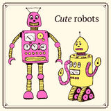 Sketch robot in vintage style Stock Photos