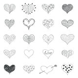 Sketch Romantic Love Hearts Retro Doodles Icons Set Valentine Day  Vector Illustration Stock Photo