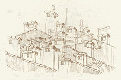 Sketch of roofs and chimneys. Vector sketch of roofs and chimneys. Retro style Stock Images