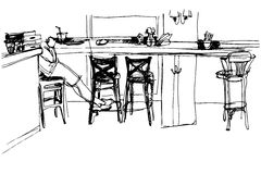 Sketch of the room at the front of the bar Royalty Free Stock Photos