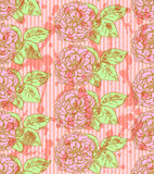 Sketch rose with leaves, vector  seamless pattern Royalty Free Stock Photography