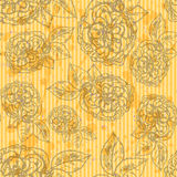 Sketch rose with leaves, vector  seamless pattern Royalty Free Stock Photos