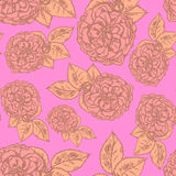 Sketch rose with leaves, vector  seamless pattern Stock Photos