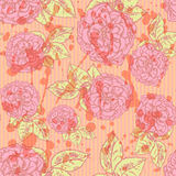 Sketch rose with leaves, vector  seamless pattern Stock Photo