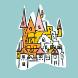 Sketch Royal Castle with towers. Historical fantasy building. Ve Royalty Free Stock Photography