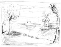 Sketch of rural landscape stock images