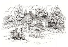 Sketch of rural landscape with old cottage, barn, garage and garden. Ink sketch Stock Photos