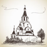 Sketch of Russian Orthodox Church. Hand drawn illustration Royalty Free Stock Image