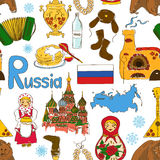 Sketch Russian seamless pattern Royalty Free Stock Images