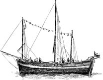 Sketch of a sailboat Royalty Free Stock Images