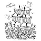 Sketch of a sailboat. With whiten background Stock Photography