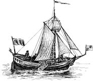 Sketch of the sailing boat Royalty Free Stock Images