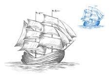Sketch of sailing ship under full sail Royalty Free Stock Photo