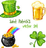 Sketch Saint Patrick day set, vector illustration Royalty Free Stock Photos