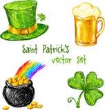 Sketch Saint Patrick day set, vector illustration Royalty Free Stock Photos