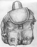 Sketch of a school bag. Hand drawn pencil sketch of a school bag. It is small, has a toy horse keychain attached to it and belongs to a child Stock Photography