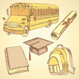 Sketch school bus, book, backpack. And graduation hat wiyh diploma Royalty Free Stock Photography