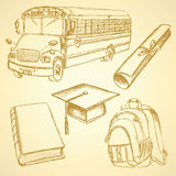 Sketch school bus, book, backpack. And graduation hat wiyh diploma Royalty Free Stock Images