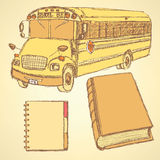 Sketch school bus, book and notebook. Vintage set Stock Images