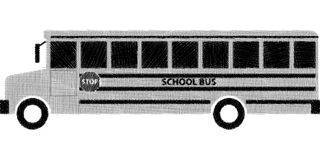 Sketch of school bus. Pencil style of Sketch school bus in BW Stock Images