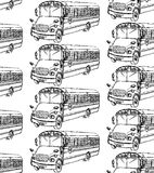 Sketch school bus in vintage style. Seamless pattern Royalty Free Stock Photography