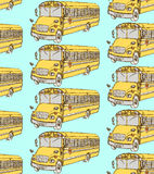 Sketch school bus in vintage style. Seamless pattern Royalty Free Stock Image