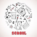 Sketch of school elements Royalty Free Stock Images