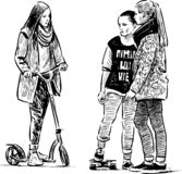 A sketch of teen girls talking on a stroll vector illustration