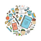 Sketch school stationery set and children icons. Vector office collection in doodle style. Back to school vector illustration