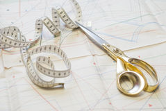 Sketch and scissors Stock Photo