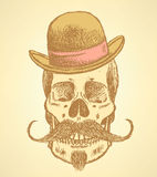 Sketch scull with mustache and in hat Royalty Free Stock Image