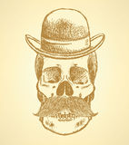 Sketch scull with mustache and in hat Stock Images