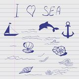 Sketch of sea elements. Royalty Free Stock Images