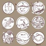 Sketch sea logotype Royalty Free Stock Images
