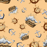 Sketch sea navigation seamless pattern Stock Photo