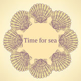 Sketch sea shell in vintage style Stock Photos