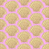 Sketch sea shell in vintage style stock illustration