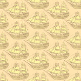 Sketch sea ship in vintage style Royalty Free Stock Photo