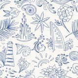 Sketch sea travel pattern Royalty Free Stock Photos