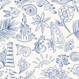 Sketch sea travel pattern Royalty Free Stock Photos