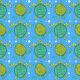 Sketch sea turtle pattern Royalty Free Stock Image