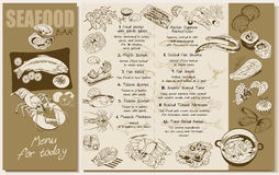 Sketch Seafood Restaurant Menu Template. With marine meals dishes products and elements vector illustration vector illustration